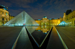 Louvre museum at night, Paris, France Stock Images