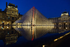 Louvre Museum by Night Stock Image