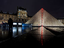 Louvre museum at night Stock Image