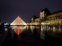 Louvre museum at night Royalty Free Stock Photo