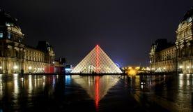 Louvre museum at night Stock Photos