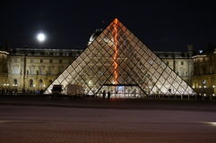 Louvre Museum at Night Royalty Free Stock Images