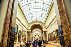 Louvre Museum paintings hall Stock Photo
