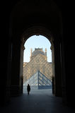 Louvre Museum, Paris, France: April 11, 2007: Pyramids of Louvre Royalty Free Stock Image