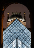 Louvre Museum in Paris, France by night Royalty Free Stock Photos