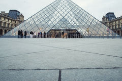 Louvre Museum in Paris -  View on Pyramide entrance. Stock Images