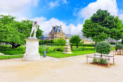 Louvre museum and park des Tuileries Royalty Free Stock Image