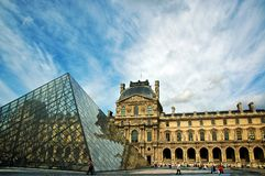 Louvre Museum with Pei Pyramid Stock Photo