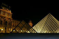 Louvre Museum Pyramid at Night Royalty Free Stock Images
