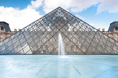 Louvre museum pyramid, Paris, France. Stock Photo