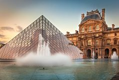 Louvre Museum and the Pyramid, Paris Stock Photos