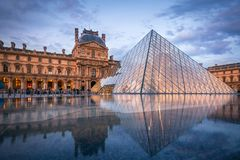 Louvre Museum and the Pyramid, Paris Royalty Free Stock Photos