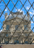 The Louvre Museum Pyramid Window Stock Photos