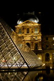 Louvre museum and pyramids Royalty Free Stock Photo