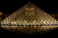 Louvre museum and pyramids Royalty Free Stock Image