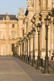 Louvre museum row of lamps - France - Paris Stock Photography