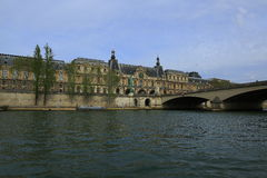 The Louvre Museum and the Seine River, Paris. View of the Seine to the Louvre museum Stock Images