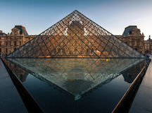 Louvre museum at sunset. Royalty Free Stock Images