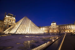 Louvre museum at twilight Royalty Free Stock Images
