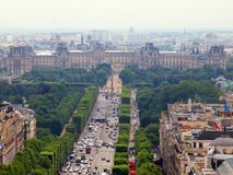 Louvre museum view from arch de Triomph Stock Photo