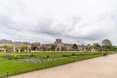 The Louvre Museum viewed from the Tuileries Garden royalty free stock photo