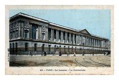 Louvre muzealny budynek, kolumnada w Paryż, Francja około 1907 obrazy stock