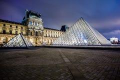 Louvre muzeum przy nocą Obraz Stock