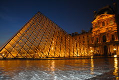The Louvre at Night Royalty Free Stock Photos