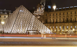 The Iconic Louvre Gallery At Night in Paris Royalty Free Stock Images