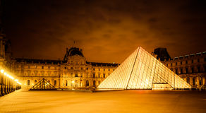 Louvre at Night stock images
