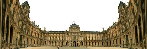 Louvre is one of the world`s largest museums. Extra wide angle panoramic.  Louvre is one of the world`s largest museums and a historic monument in Paris, France Stock Image
