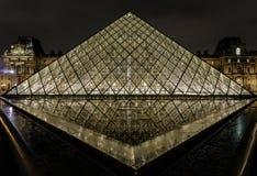 Louvre ostrosłup Richelieu i Pavillon Obrazy Stock