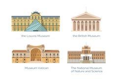 Louvre påstår eremitboning- och Vaticanenmuseumuppsättningen vektor illustrationer