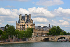 The Louvre Palace Buildings & Seine River, Paris France. Stock Image