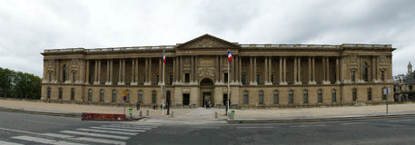The Louvre Palace (panoramic view). Paris, France Royalty Free Stock Photos