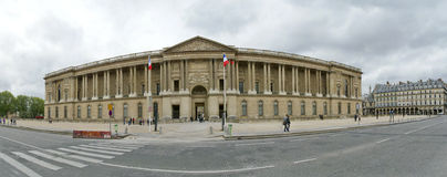 The Louvre Palace (panoramic view). Paris, France Stock Images