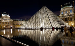 The Louvre Palace and the Pyramid, Paris at night Stock Photography