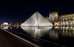 The Louvre Palace and the Pyramid, Paris at night Stock Photos