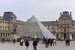 The Louvre Palace and the Pyramid in Paris Stock Images