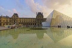 The Louvre Palace and the Pyramid Royalty Free Stock Photography