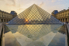 The Louvre Palace and the Pyramid Stock Photography