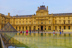 The Louvre Palace and the Pyramid Stock Image