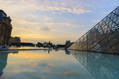 The Louvre Palace and the Pyramid Royalty Free Stock Photo