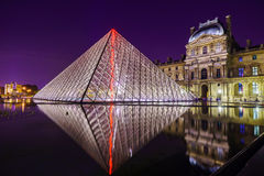 The Louvre Palace and the Pyramid Royalty Free Stock Images
