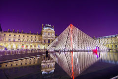 The Louvre Palace and the Pyramid Stock Photo