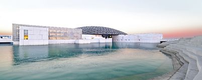 Louvre, Panoramic View, Abu Dhabi, Emirates, Dec.2017. Louvre, Abu Dhabi, United Arab Emirates - Dec.29, 2017: the famous museum of the French architect Jean Stock Photos