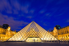 The Louvre, Paris. The Louvre in Paris, France at night on August 05, 2010. The Louvre museum is one of the major tourist attractions in France and in Europe Royalty Free Stock Image