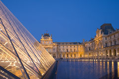 Louvre in Paris. Louvre museum in paris at night Stock Photo