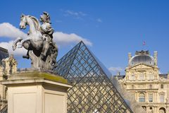 Louvre in Paris. The place of interest in Paris is the Louvre museum Stock Image