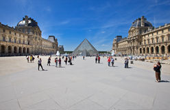 Louvre, Paris. The most visited museum in the world, Louvre in Paris, France. View from the square behind the Glass  pyramid,  entrance to the museum, with Royalty Free Stock Photo